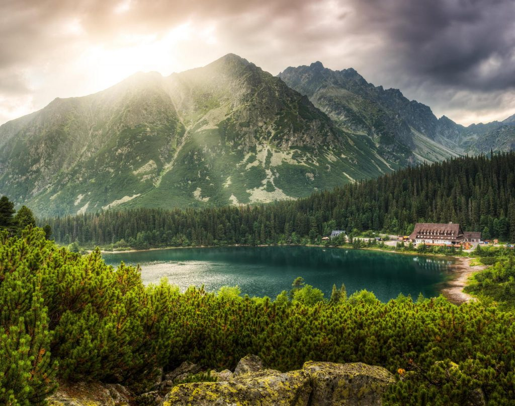mountain landscape with mountain chalet near Poprad Pond, High Tatras, Slovakia